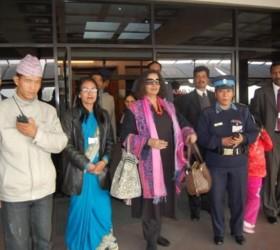 Arrival of SAARC Goodwill Ambassador Ms. Shabana Azmi at TIA, Kathmandu