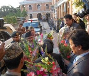 Dr. Kashi Kant Jha, Director, STAC welcomes Mr. Pushpa Kamal Dahal, Rt. Hon'ble Prime Minister, Government of Nepal